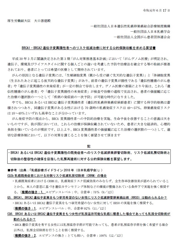 「BRCA1・BRCA2遺伝子変異陽性者へのリスク低減治療に対する公的保険収載を求める要望書」(日本乳癌学会、日本遺伝性乳癌卵巣癌総合診療制度機構、全国がん患者団体連合会)
